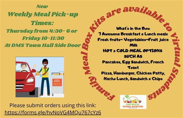 New Meal-  Pick Up Times for Virtual Learners - Click Here to Register